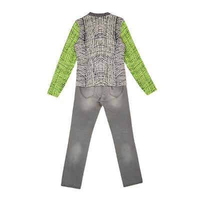 geometric pattern knit & cloud washing jean